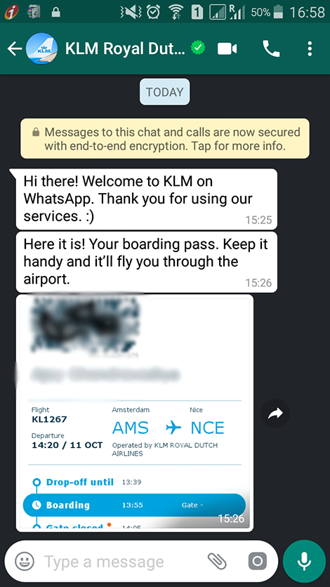 KLM on WhatsApp