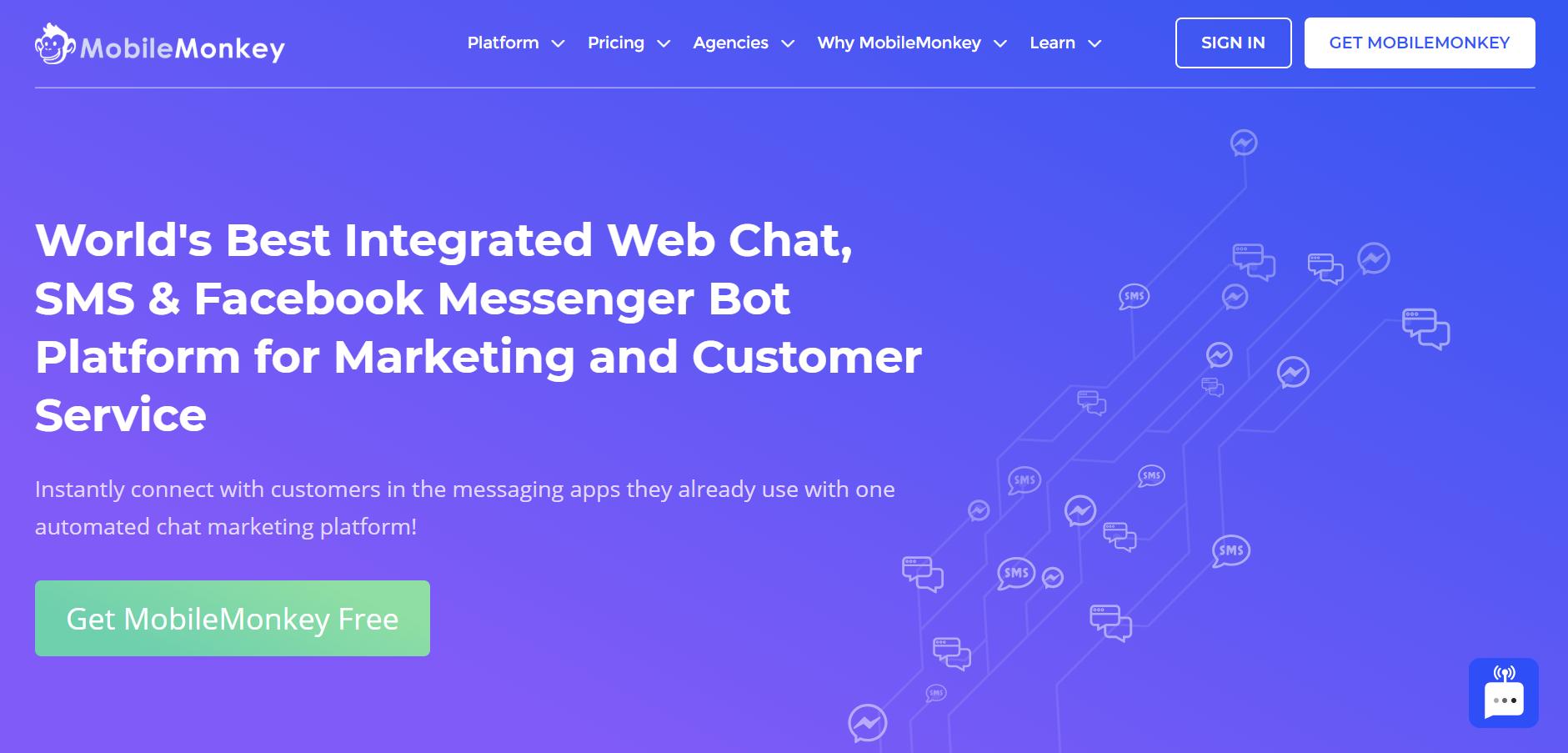 sales chatbot - MobileMonkey