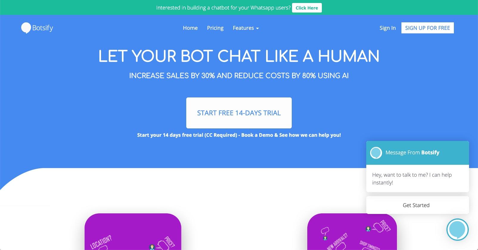 sales chatbot - Botsify