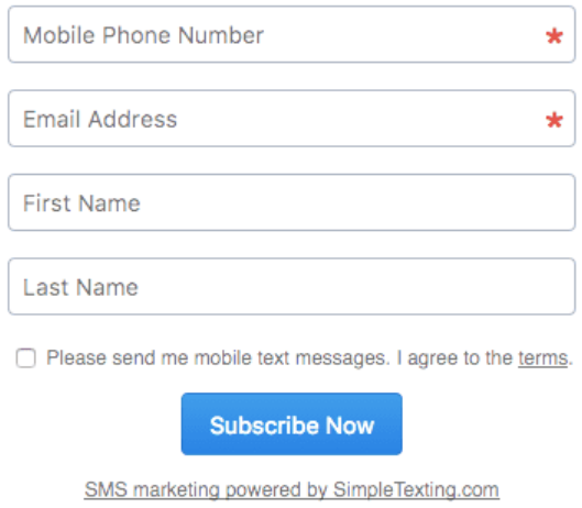SimpleTexting review - SimpleTexting web forms